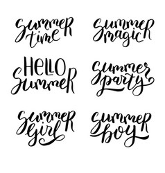 summer hand drawn lettering set vector image