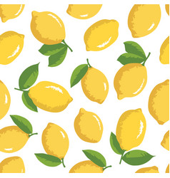 Summer pattern with lemons seamless texture design vector