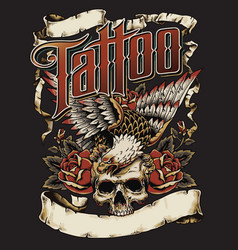 tattoo eagle with skull and roses logo with scroll vector image