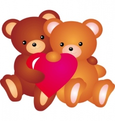Teddy bear with heart vector vector