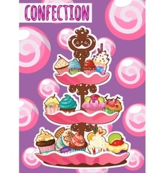 Three-storey dish of different cakes vector image