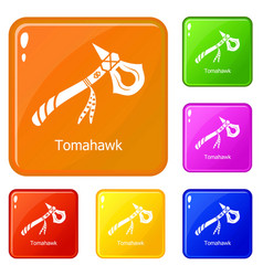 Tomahawk icons set color vector
