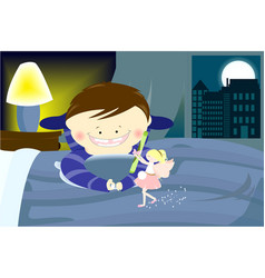 Tooty fairy with a boy vector