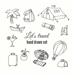 Travel elements set design of traveler vector image