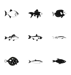 Tropical fish icons set simple style vector image vector image