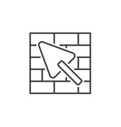 trowel and masonry concept icon in outline vector image