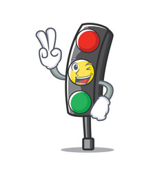 Two finger traffic light character cartoon vector