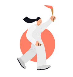 Woman running and carries olympic torch flat vector