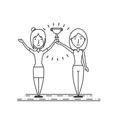 women people celebrate with up trophy vector image
