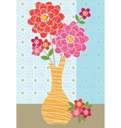 Zinnias in vase vector