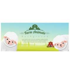 farm animal and rural landscape with sheep vector image vector image