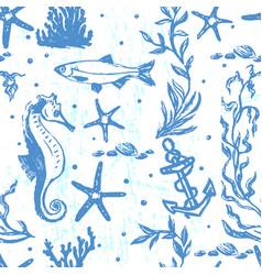 ink hand drawn marine world seamless pattern vector image vector image
