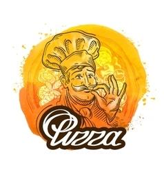 pizza restaurant logo design template chef vector image vector image