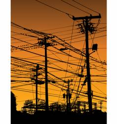 telephone poles and wires vector image