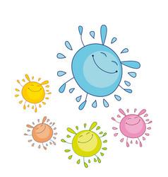 tender color funny water drop mascot bubble shape vector image