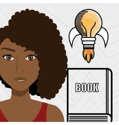 Woman books idea reading vector