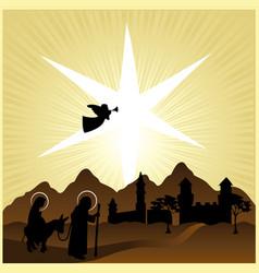 christmas nativity mary and joseph 2 vector image vector image
