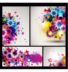 grungy floral background set vector image vector image