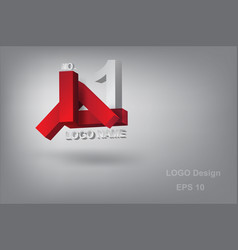 logo design character l with geometry 3dred vector image