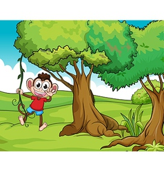 Monkey and trees vector image vector image