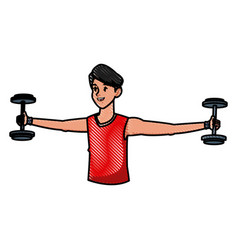Sport man with weight lifting fitness active vector