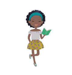 A cute cartoon afro-american girl reading a book vector