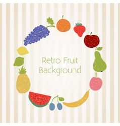 Doodle fruit circle in retro colors vector image vector image
