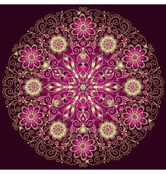 Gold-purple round floral vintage pattern vector image vector image