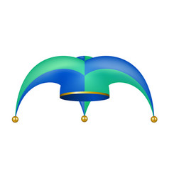 jester hat in blue and green design vector image