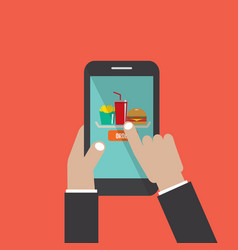 smartphone with hamburger french fries cola vector image