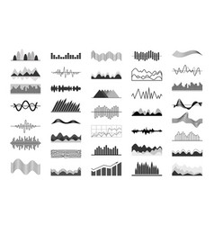black and white charts and sound waves indicators vector image vector image