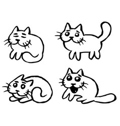 cats emoticons set isolated vector image vector image