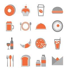 Food orange icons set on white background vector image