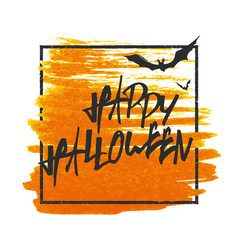 happy halloween bats on background grunge stamped vector image vector image