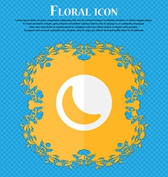 moon Floral flat design on a blue abstract vector image