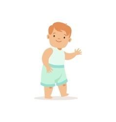 Redhead Boy Walking Adorable Smiling Baby vector image