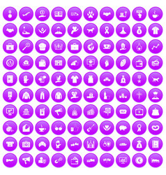 100 charity icons set purple vector