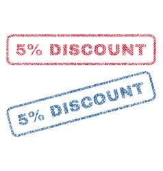 5 percent discount textile stamps vector image