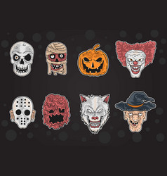 all halloween mask in one vector image