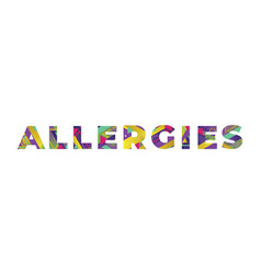 Allergies concept retro colorful word art vector