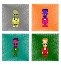 Assembly flat shading style icon zombie men vector