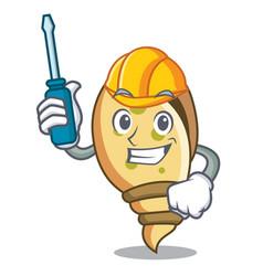 Automotive sea shell mascot cartoon vector