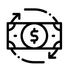 Bank note dollar and around arrows icon vector