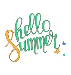 Brush lettering composition Hello summer vector image