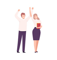 business people celebrating victory successful vector image