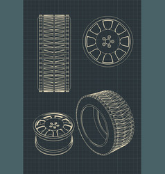 car alloy wheels and tires drawings vector image