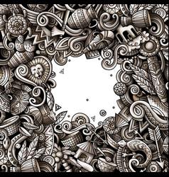 Cartoon doodles africa monochrome vector