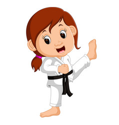 Cartoon girl practicing karate vector