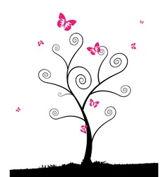 Cartoon tree with group of pink butterflyes vector image