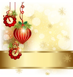 Christmas Ornament on Gold Color Background vector image